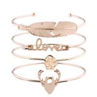 Letras de amor floco de neve pulseira para as mulheres Antlers pena encantos manguito pulseiras de ouro de luxo conjunto menina designer de jóias de natal