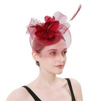 Women Party Headwear Fashion Lady Feather Flower Mesh Banque...
