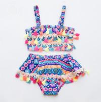 Baby-Badebekleidung Böhmen Troddel-Badeanzug 2ST-Satz-Kind-Badeanzug Geometric Mädchen Bikinis Schwimmen Kleidung-Sommer-Kinder-Kleidung DHW2446