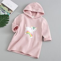 2019 Autumn Spring Girls Hooded Long Sweatshirts Tops Childr...