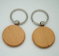 50pcs Blank runden hölzernen Schlüsselanhänger DIY Promotion Customized Schlüsselanhänger Werbegeschenke