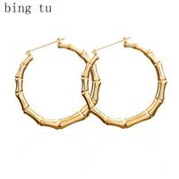 Bing Tu oro / plata pendientes grandes del aro redondo Pendientes círculo grande para la joyería tallada partido de las mujeres de lazo pendiente brincos de gota