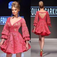 2020ニューショートレースMnm CoutureドレスイブニングウェアVネック長袖背中合わせ有名人ドレスラインイブニングドレス1496