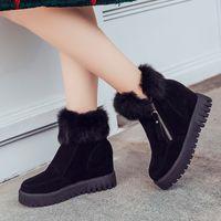 Kvinnor Stövlar Vinterpäls Varma Skor Plattform 2018 Kvinna Snowboots Casual Sneakers Cotton Wedge Woman Snow Boots Vinterskor