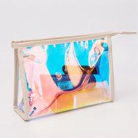 Лазерная Косметические сумки Женщины Лазерная макияж сумка водонепроницаемый ПВХ сумка для путешествий туалетных Zipper Organizer чехол для хранения Wash Сумки Инструменты RRA1383