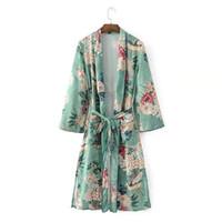 Floral Cópia Blusas Camisas Long Kimono Mulheres Sashes Pocket Kimono Cardigan Elevent Manga Longa Verão Verão Boêmio Blusa Beach Tops Venda Quente