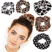 Классический Smooth животных Velvet волосы Scrunchies Leopard Print Хаундстут модели осень зима Hairbands аксессуары