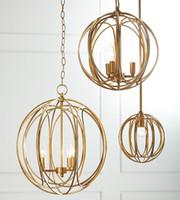 Amerikanischen Stil kreative Landschaft Mode Schlafzimmer Esstisch Veranda Korridor kreisförmigen Käfig Gold / Silber Kronleuchter LED-Lichter
