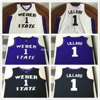 Weber State Wildcats Faculdade Damian Lillard # 1 Branco Black Roxo Retro Basquete Jersey Stitched Personalizado Qualquer Número Nome Camisolas