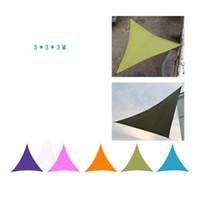 3 * 3 * 3M Sun abrigos de acampar barraca impermeável triângulo sol jardim pátio piscina sombra ao ar livre dossel sel veia toldo 6 cores 30pcs zza947