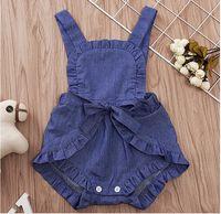 Mädchen quadratischen Kragen ärmellose Strampler Baby Sommer Jean tiefblauen Overall Infant Solid Color Kleidung einteilig ZHT 265