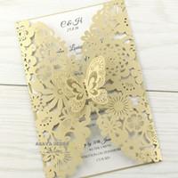 Gorgeous Vertical Cut Butterfly Invitaciones Tarjetas Kits para boda Ducha nupcial Cumpleaños y Dulce 16