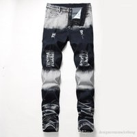 Long Jeans Regular Mid Waist Straight Mens Pants Fashion Male Apparel Distrressed Blue White Holes Stretch Mens