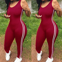 새로운 Bodycon 바지 롱 점프 슈트 여성 Macacao 파티 장난 꾸러기 점프 슈트 소매 작업복 레트로 끈 Playsuits 대형