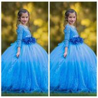 2019 Scoop Quarter Sleeves 레이스 아플리케 Ball Gown Flowers 3 차원 꽃과 소녀 복장 장식 된 긴 여학생 미인 대회 가운 화려한
