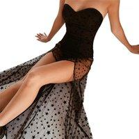 여자 치마를 통해 섹시한 여성 튜브 톱 드레스 여성 메쉬 스티칭 드레스 휴일 스타일 여름 참조