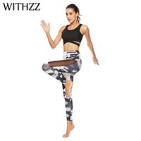 WITHZZ Printed Splicing Mesh-Gamaschen-Frauen Leggins Elbows Für Fitness Legging Legins Workout Tayt Sportleggings Elastizität