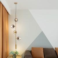 parte moderna de vidrio soplado sombra araña de suspensión de largo para colgar la bola de cristal deco hogar de oro haba mágica plafonnier luminaria