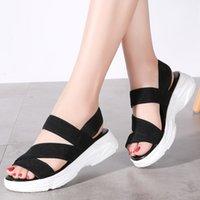 Stq Женщины моды сандалии 2020 лето женщина Клин удобные мягкие сандалии дамы плоский Женщины Sandalias Flat B0509