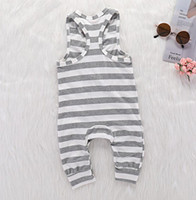 Ins Summer Infant Baby Boys Stripe Rompers Kids Sleeveless O...