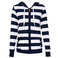 Kadınlar Oversize Coats Giyim Sonbahar Kış Çizgili Fermuar Kadınlar Casual Slim Coat Plus Size S-XL için Kapşonlu Coat ceketler Tops