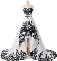 Abiti da sposa senza maniche in pizzo nero in pizzo Black Bridal Abiti da sposa anteriore corta e lunga schiena lace-up Mert Dress Wed Robe de Mariee