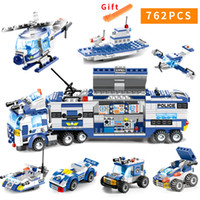 762pcs City Police Series Swat 8 en 1 City Police Truck Station Compatible Legoes Building Blocks Ladrillos pequeños Juguete para niñosMX190820