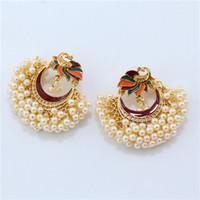 Di lusso indiano Jhumki orecchini simulato Perle perline etnici Dichiarazione gioielli Orecchini a candelabro India sposa partito all'ingrosso FJJ348
