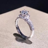 Yanleyu Lüks Parlak Mozanit Taş Alyans Yüzük Kadınlar için Gerçek 925 Ayar Gümüş Nişan Yüzüğü Takı PR215