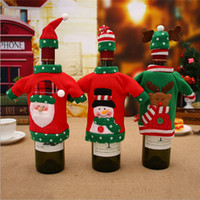 1Set Cute Red Wine Bottle Cover Bags Santa Claus Dinner Tabl...