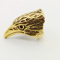 Hochwertige Big Eagle Kopf Ringe Antik Farbe Edelstahl Biker cool Eagle Ringe für Männer Schmuck BKRG0003