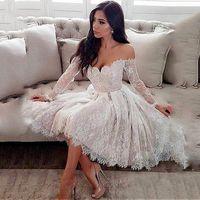 Короткое свадебное платье 2020 Sweetheart Предложение плечевых с длинным рукавом из бисера створками длиной до колен платье невесты Весна Платье де Noiva