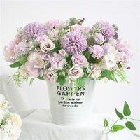 Azul-de-rosa Wedding Bouquet Artificial Silk Rose Peony Flower Bride Bouquet Hydrangea Pompom Vanilla Pico Fontes do casamento # LR2