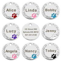 100pcs / lot Blank cane Ta domestico del cucciolo del gatto ID Tag inciso personalizzato collare di cane dell'acciaio inossidabile degli accessori Name Tag Paw per i cani Gatti Rosa