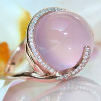 Melhores rosa cristal Moonstone Anéis de venda para Mulheres Euramerica criativa Rose cor do ouro Anéis de casamento incrustados zircão jóias Anel