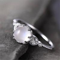 eşi hediye için basit kore stili gümüş ay taşı yüzük moda kadın kristal yapay elmas düğün nişan yüzüğü yaz tasarım