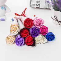 Kunststoff Blume Hochzeitsgeschenk Multi Farben einfach verzweigte Rose Blume stilvolle romantische große Kunststoff Blume mit Verpackung Box