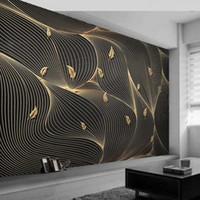 Пользовательские 3D фото обои роскошные абстрактные линии геометрические золотые листья фреска гостиная диван ТВ фон домашний декор обои