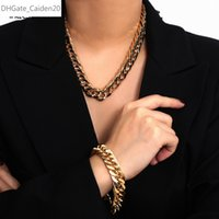 Punk Hip Hop Miami Curb Cuban-Halsketten-Kragen Simple Gold Farbe Halsketten-Armband-Set für Frauen Männer Schmuck