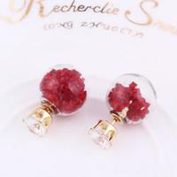 Прозрачное стекло хрустальный шар серьги двухсторонние блестящие бусы серьги-гвоздики мода кристалл ювелирные изделия для женщин