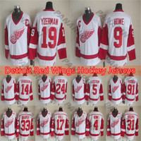 Mens Detroit Red Wings Hóquei Jersey 14 Shanahan 24Chelios 19 Steve Yzerman 9 Gordie Howe White Jersey