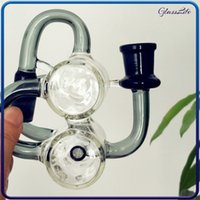 Recycler in linea percolater waterpipe in vetro bong 90 gradi 14mm ashcatcher mini riciclatore olio rig adattatore cenere catcher accessorio per fumatori