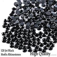 Jato preto todos os tamanhos preto hotfix strass flatback cristais redondos DMC Rhinestones Hot Fix Strass DIY Ferro para uso múltiplo