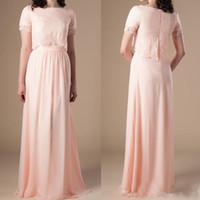 Dos piezas Modest una línea rosa Dama de honor con manga corta de la tapa del cordón formal vestidos de noche vestido de fiesta de la boda de Boho