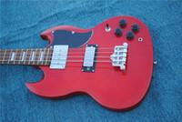 Пользовательские Angus молодые 4 струны электрические бас-красный SG твердое тело электрические бас-гитара 3 тумблер мост пикап хром оборудование
