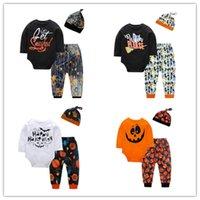 Baby Rompes Halloween Costumes Enfants Costumes Citrouille Jumpseau Jumpseau Trois pièces Blouse Pantalon Chapeau Pantalon Pantalons Garçons Filles WY20Q