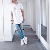 Изогнутые Хем Hip Hop футболки Мужчины Urban Kpop Расширенная майка Обычная Ярус Мужские футболки Одежда мужская