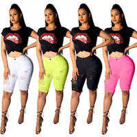 Candy Color Summer Womens Shorts Skinny Knee Length Ripped T...