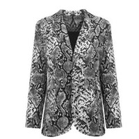 Trendy Women pocket turn- down collar Snake Skin Print Coat L...