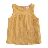 Детская дизайнерская одежда для девочек футболки Хлопковое белье детские топы без рукавов цвета конфеты Жилет Тис 2019 Летняя мода детская одежда C6733